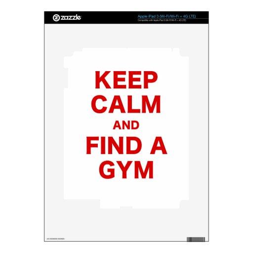 Guarde la calma y encuentre un gimnasio iPad 3 skin