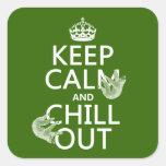 Guarde la calma y enfríese hacia fuera (pereza) colcomanias cuadradas