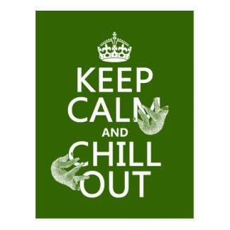 Guarde la calma y enfríese hacia fuera (pereza) postales