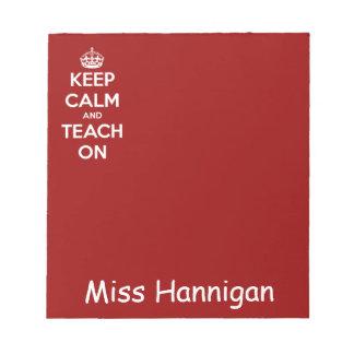 Guarde la calma y enséñela en rojo libretas para notas