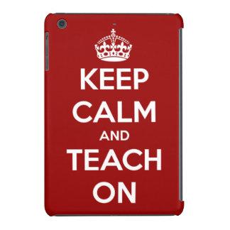 Guarde la calma y enséñela en rojo y blanco carcasa para iPad mini