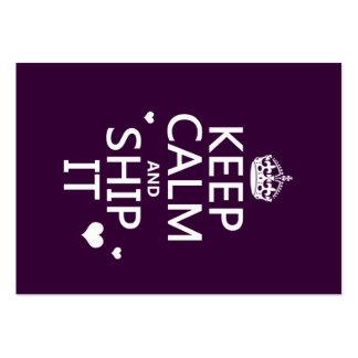 Guarde la calma y envíela (los corazones) (en tarjetas de visita grandes