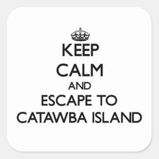 Guarde la calma y escápese a la isla Ohio del Pegatina Cuadrada