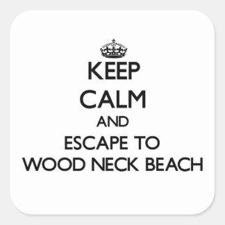 Guarde la calma y escápese a la playa de madera calcomanía cuadradas personalizada