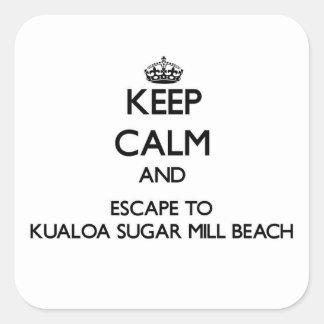 Guarde la calma y escápese a la playa ha del pegatina cuadrada