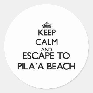 Guarde la calma y escápese a la playa Hawaii de Etiquetas