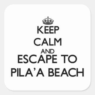 Guarde la calma y escápese a la playa Hawaii de Calcomania Cuadradas Personalizada