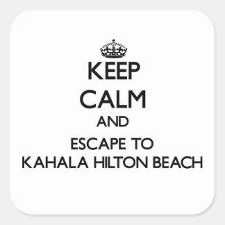 Guarde la calma y escápese a la playa Hawaii de Pegatina Cuadrada