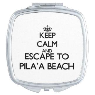 Guarde la calma y escápese a la playa Hawaii de Espejo Compacto