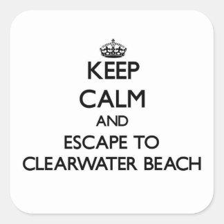 Guarde la calma y escápese a la playa la Florida Calcomanias Cuadradas