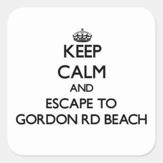 Guarde la calma y escápese a la playa Michigan de Calcomanias Cuadradas