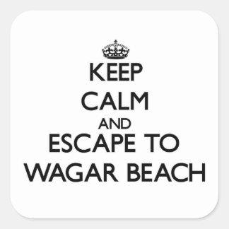 Guarde la calma y escápese a la playa Ohio de Pegatina Cuadrada