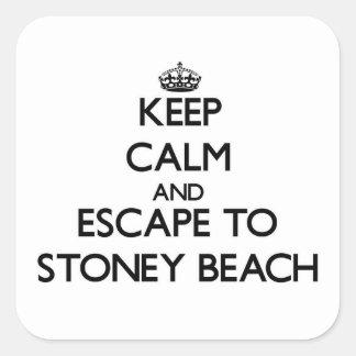 Guarde la calma y escápese a la playa pegatina cuadrada