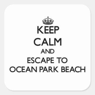 Guarde la calma y escápese a la playa Washingto Calcomanía Cuadrada Personalizada