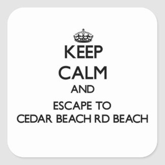 Guarde la calma y escápese a la playa Wisco del Rd Calcomanías Cuadradass Personalizadas
