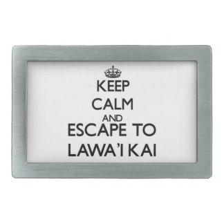 Guarde la calma y escápese a Lawa'I Kai Hawaii Hebillas De Cinturon