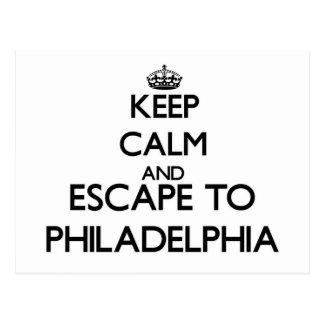 Guarde la calma y escápese a Philadelphia New Tarjetas Postales