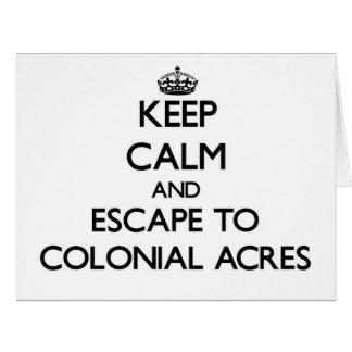 Guarde la calma y escápese al Massachuset colonial Tarjeta De Felicitación Grande