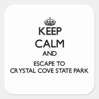 Guarde la calma y escápese al parque de estado pegatina cuadrada