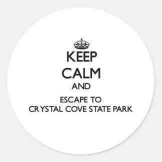 Guarde la calma y escápese al parque de estado pegatina redonda