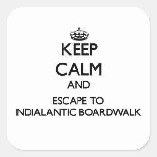 Guarde la calma y escápese al paseo marítimo Flor Pegatinas Cuadradases Personalizadas