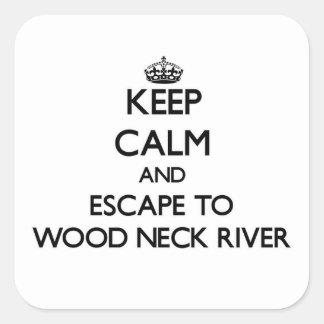 Guarde la calma y escápese al río de madera calcomanía cuadradas