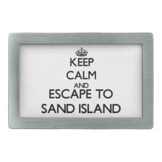 Guarde la calma y escápese para enarenar la isla hebillas cinturón