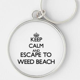 Guarde la calma y escápese para escardar la playa llavero