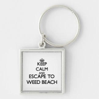 Guarde la calma y escápese para escardar la playa llaveros personalizados