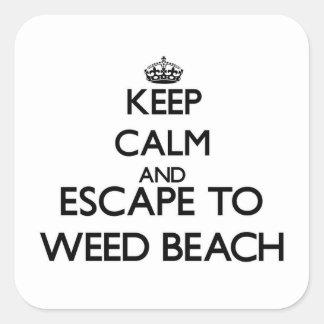 Guarde la calma y escápese para escardar la playa pegatina cuadrada