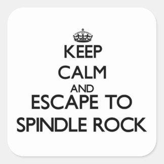 Guarde la calma y escápese para orientar la roca calcomanías cuadradass personalizadas
