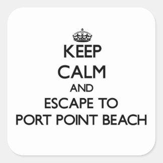 Guarde la calma y escápese para virar la playa calcomanía cuadradas personalizada