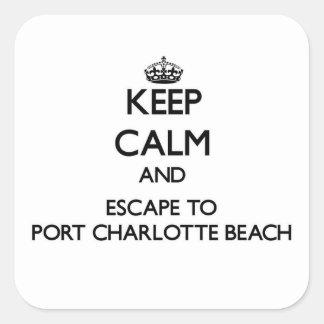 Guarde la calma y escápese para virar la playa calcomania cuadradas