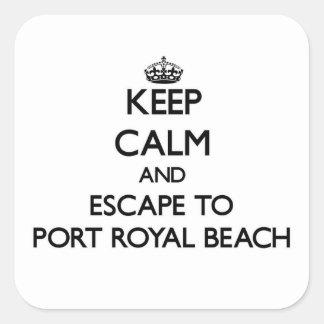 Guarde la calma y escápese para virar la playa calcomanía cuadradase