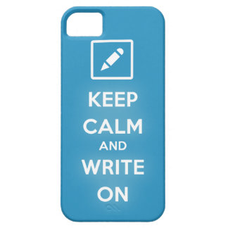 Guarde la calma y escriba en el caso del iPhone 5 iPhone 5 Carcasa