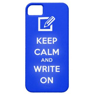 Guarde la calma y escriba en el caso del iPhone 5 iPhone 5 Fundas