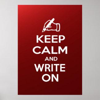 Guarde la calma y escriba en meme póster