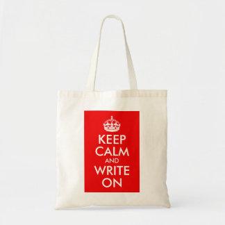 Guarde la calma y escriba encendido bolsas de mano
