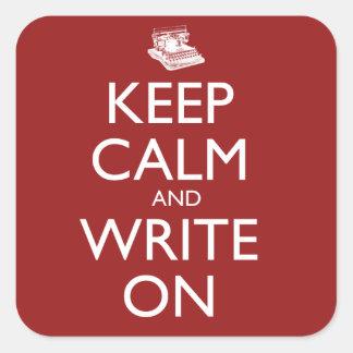 Guarde la calma y escriba encendido calcomania cuadradas