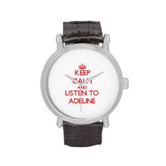 Guarde la calma y escuche Adelina Relojes De Mano