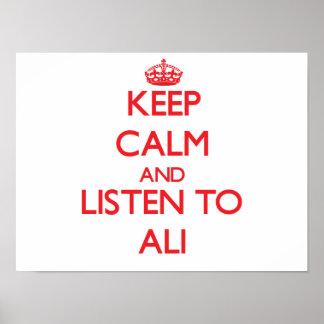 Guarde la calma y escuche Ali