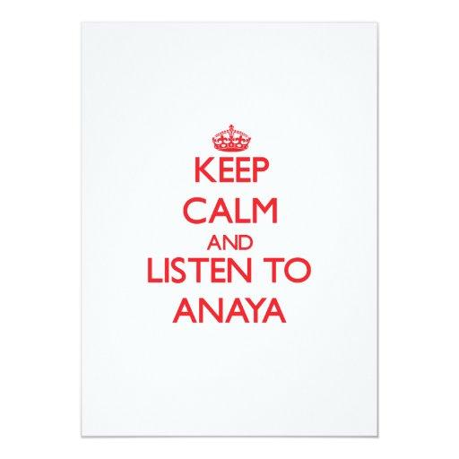 Guarde la calma y escuche Anaya Invitación 12,7 X 17,8 Cm