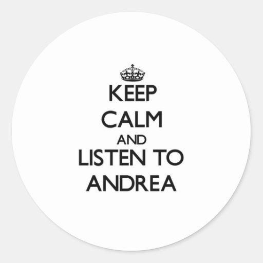 Guarde la calma y escuche Andrea Pegatina Redonda
