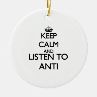 Guarde la calma y escuche ANTI Adorno De Navidad