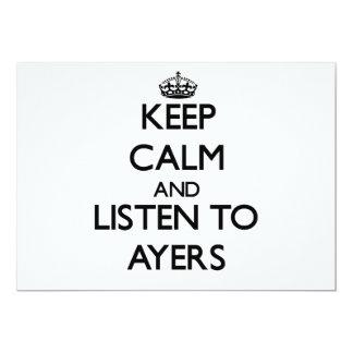 Guarde la calma y escuche Ayers Invitacion Personal