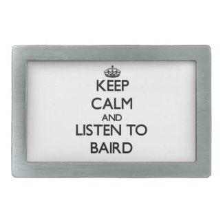 Guarde la calma y escuche Baird Hebillas Cinturon Rectangulares