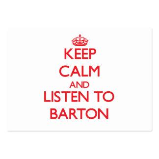 Guarde la calma y escuche Barton Tarjeta De Visita