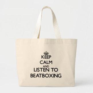 Guarde la calma y escuche BEATBOXING Bolsas De Mano