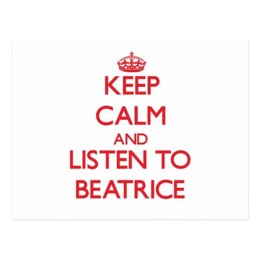 Guarde la calma y escuche Beatriz Postales