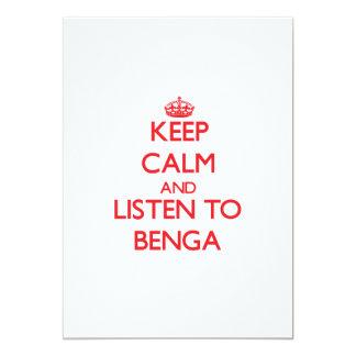 """Guarde la calma y escuche BENGA Invitación 5"""" X 7"""""""